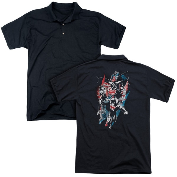 Batman V Superman/Ripped Trio 2 (Back Print) Mens Regular Fit Polo in Black