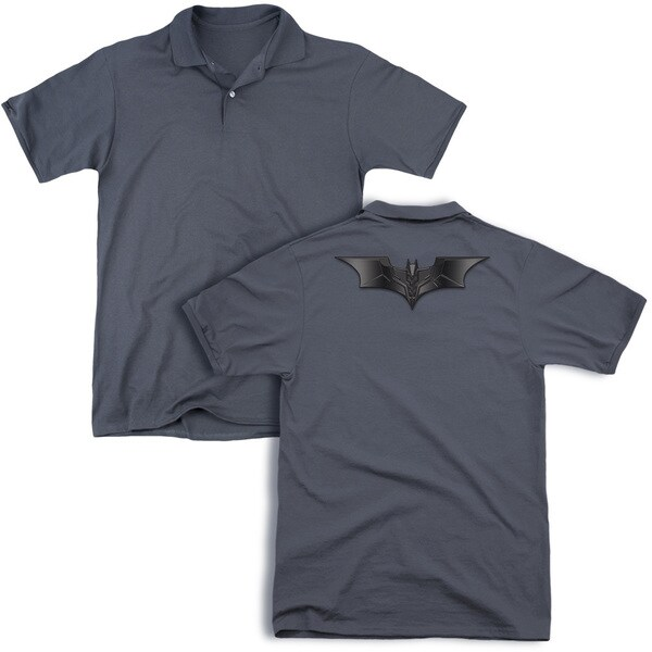 Dark Knight/Carbon Fiber Shield (Back Print) Mens Regular Fit Polo in Charcoal
