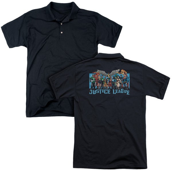 JLA/League Lineup (Back Print) Mens Regular Fit Polo in Black