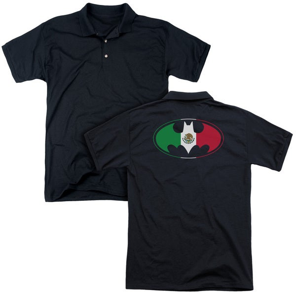 Batman/Mexican Flag Shield (Back Print) Mens Regular Fit Polo in Black