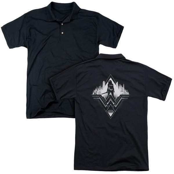 Batman V Superman/City Warrior (Back Print) Mens Regular Fit Polo in Black