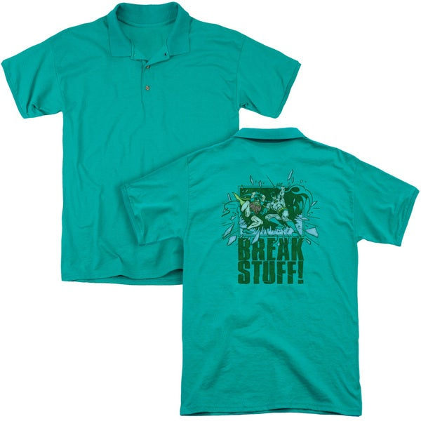 DC/Break Stuff (Back Print) Mens Regular Fit Polo in Kelly Green