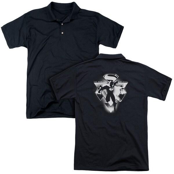 Batman V Superman/Triple Diamond (Back Print) Mens Regular Fit Polo in Black