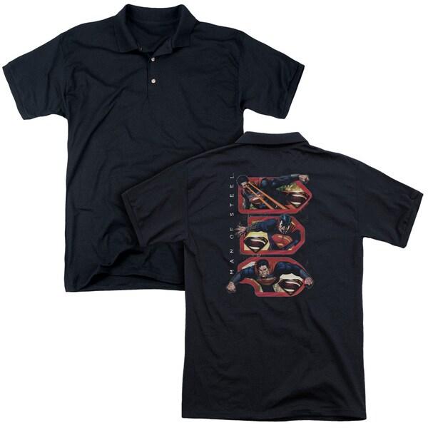 Man Of Steel/Tri Supes (Back Print) Mens Regular Fit Polo in Black
