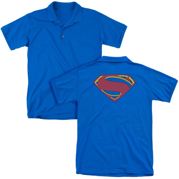 Man Of Steel/8 Bit Shield (Back Print) Mens Regular Fit Polo in Royal