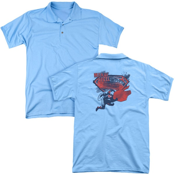 Man Of Steel/Sheild Splat (Back Print) Mens Regular Fit Polo in Carolina Blue