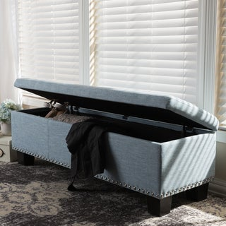 Baxton Studio Alekto Modern and Contemporary Light Blue Fabric Upholstered Button-Tufting Storage Ottoman Bench