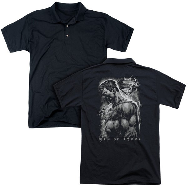Man Of Steel/Steel Rain (Back Print) Mens Regular Fit Polo in Black
