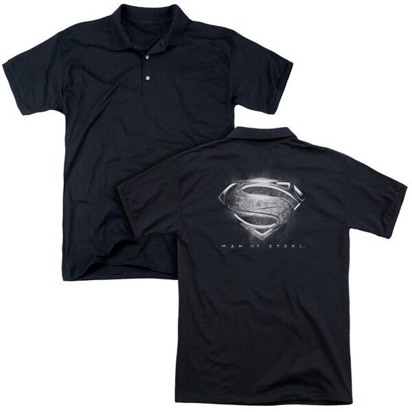 Man Of Steel/Contrast Symbol (Back Print) Mens Regular Fit Polo in Black