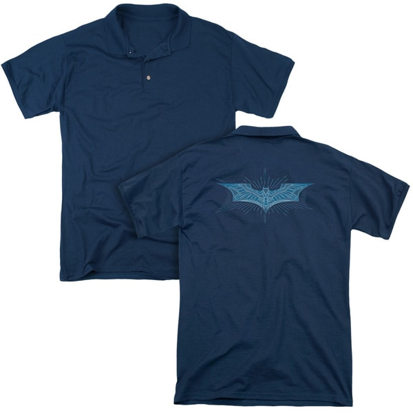 Dark Knight/Bat Armor Logo (Back Print) Mens Regular Fit Polo in Navy