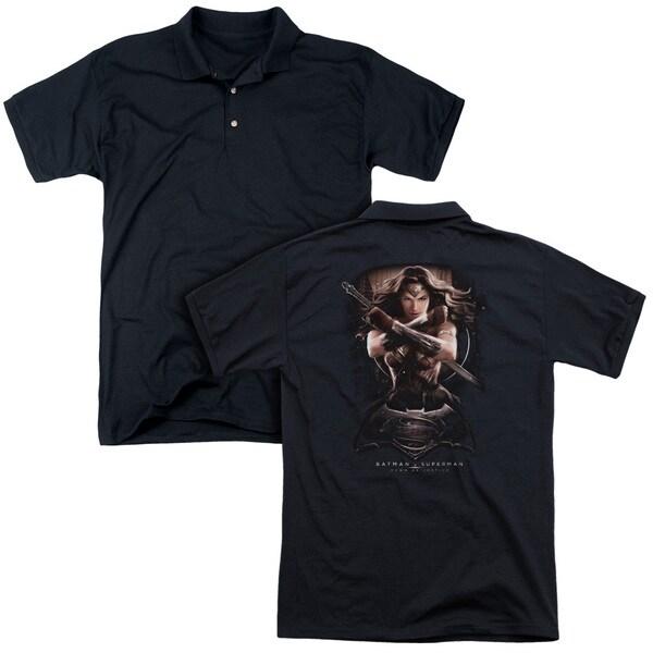 Batman V Superman/Ww Ground Zero (Back Print) Mens Regular Fit Polo in Black