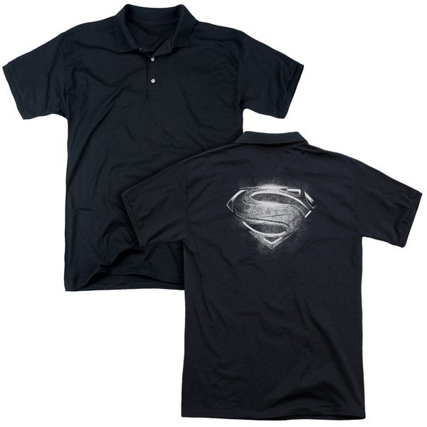 Man Of Steel/Contrast Symbol (Back Print) Mens Regular Fit Polo in Black
