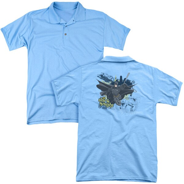 Dark Knight/Jump Swing and Drive (Back Print) Mens Regular Fit Polo in Carolina Blue