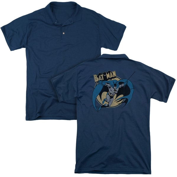 Batman/Through The Night (Back Print) Mens Regular Fit Polo in Navy