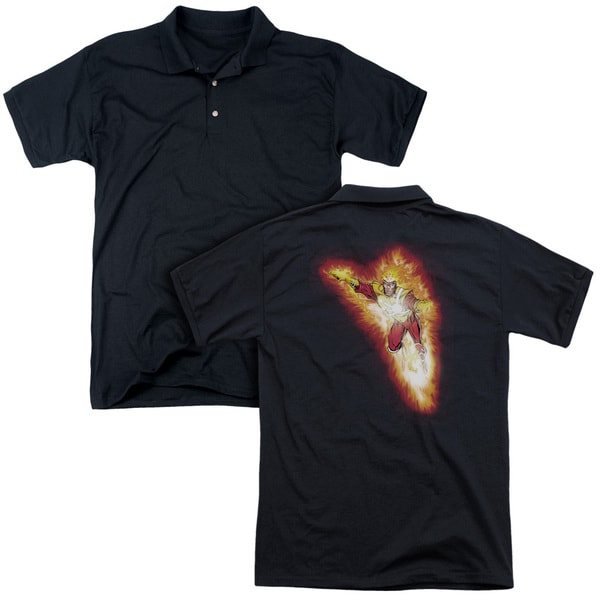 JLA/Firestorm Blaze (Back Print) Mens Regular Fit Polo in Black