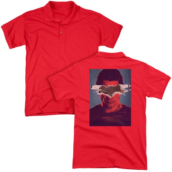 Batman V Superman/Superman Poster (Back Print) Mens Regular Fit Polo in Red