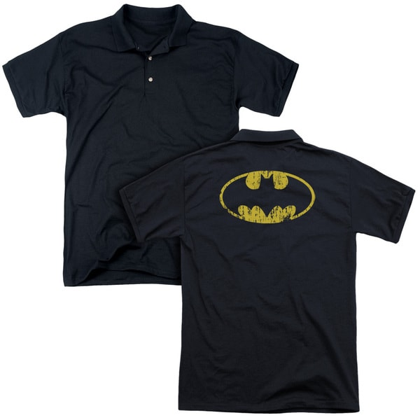 Batman/Classic Logo Distressed (Back Print) Mens Regular Fit Polo in Black