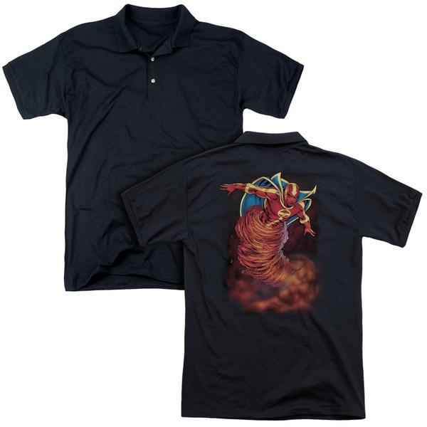 JLA/Tornado Cloud (Back Print) Mens Regular Fit Polo in Black