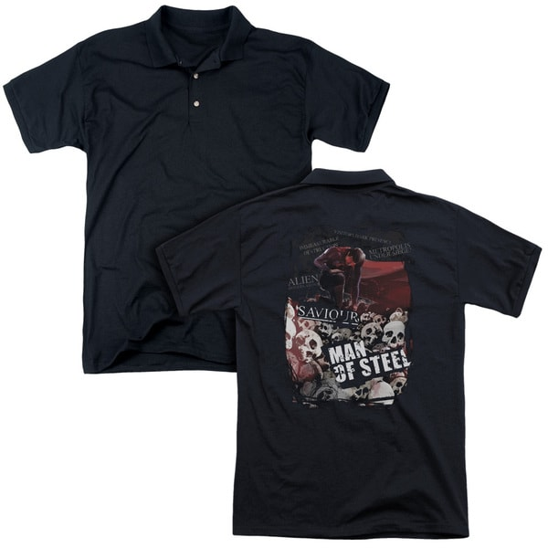 Man Of Steel/Saviour (Back Print) Mens Regular Fit Polo in Black