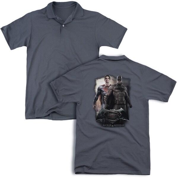 Batman V Superman/Dawn (Back Print) Mens Regular Fit Polo in Charcoal