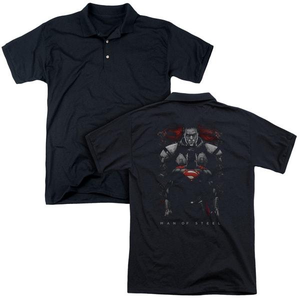 Man Of Steel/Man Behind (Back Print) Mens Regular Fit Polo in Black