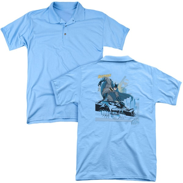 Batman/Two Gotham Gargoyles (Back Print) Mens Regular Fit Polo in Carolina Blue
