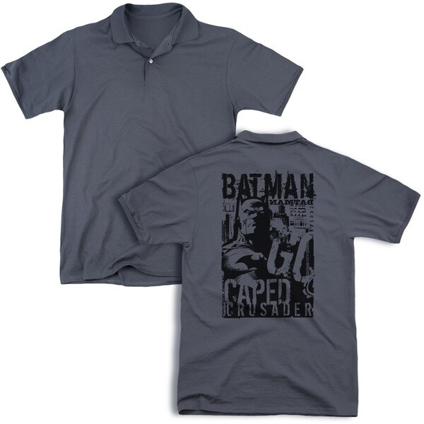 Batman/Caped Crusader (Back Print) Mens Regular Fit Polo in Charcoal