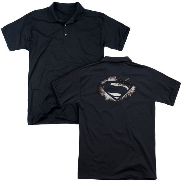 Man Of Steel/Mos Shield Fracture (Back Print) Mens Regular Fit Polo in Black