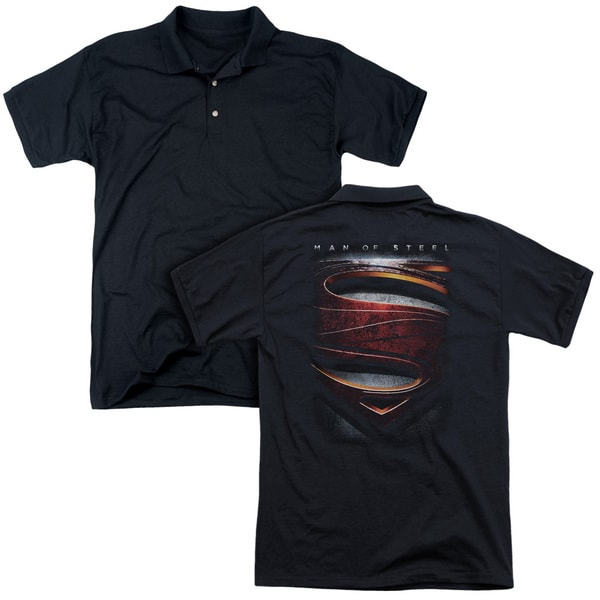 Man Of Steel/Large Shield (Back Print) Mens Regular Fit Polo in Black