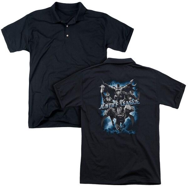 JLA/Justice Storm (Back Print) Mens Regular Fit Polo in Black
