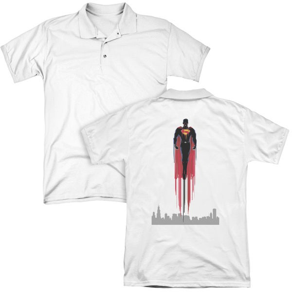 Man Of Steel/Red Streak (Back Print) Mens Regular Fit Polo in White