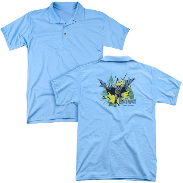 Batman/City Splash (Back Print) Mens Regular Fit Polo in Carolina Blue