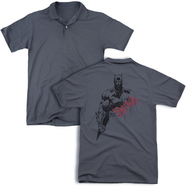 Batman/Sketch Bat Red Logo (Back Print) Mens Regular Fit Polo in Charcoal