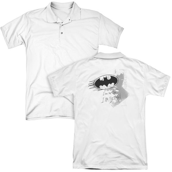 Batman/I Am Vengeance (Back Print) Mens Regular Fit Polo in White
