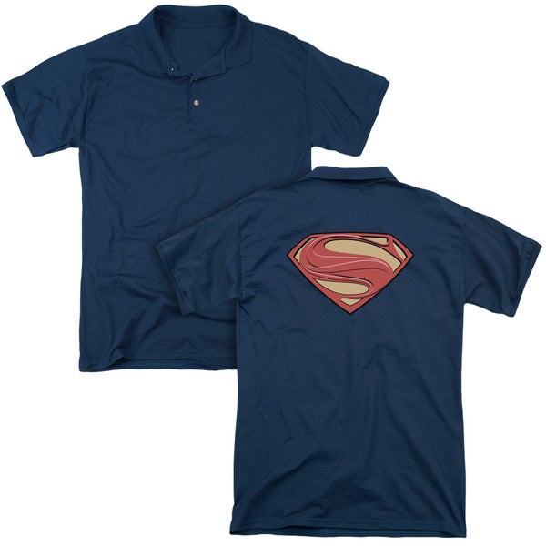 Man Of Steel/New Solid Shield (Back Print) Mens Regular Fit Polo in Navy