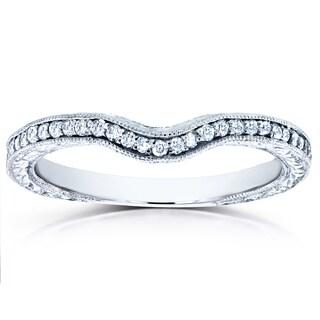 Annello 14k White Gold 1/6ct TDW Round Diamond Antique Contoured Wedding Band (G-H, I1-I2)