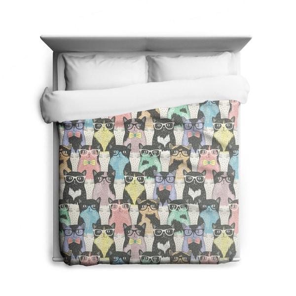 Sharp Shirter Nerdy Cats/ Cat Duvet Cover/ Printed in Usa