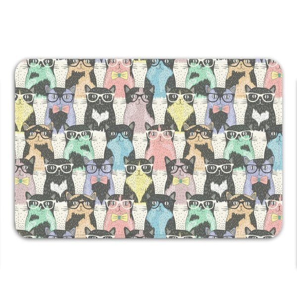 Sharp Shirter Nerdy Cats Memory Foam Bath Mat 19146192