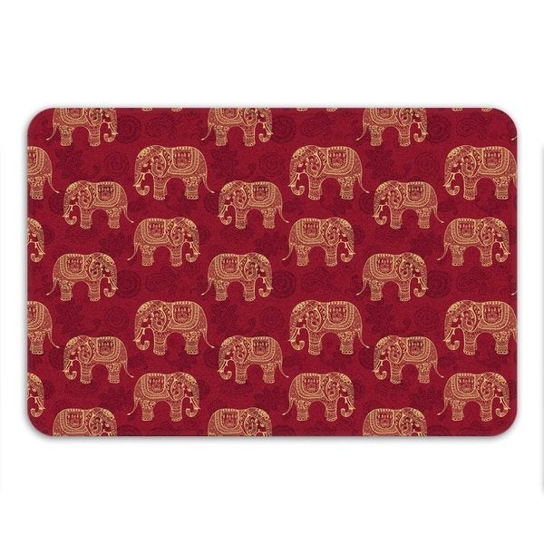 Sharp Shirter Henna Elephants Memory Foam Bath Mat 19146205