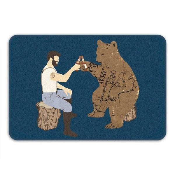 Sharp Shirter Having a Bear Memory Foam Bath Mat 19146209