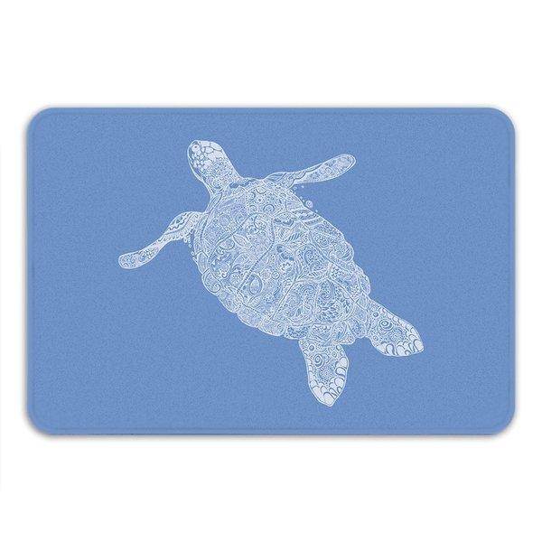 Sharp Shirter Elegant Turtle Memory Foam Bath Mat - Blue 19146222