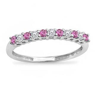 Women's 14k White Gold 1/3-carat White Diamond and Pink Sapphire Round Anniversary Stackable Wedding Band