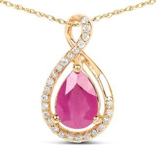 Malaika 14k Yellow Gold 7/8ct TGW Ruby and White Diamond Pendant