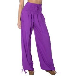 La Leela Women's Purple Rayon Lightweight Plain Relaxed Fit Drawstring Tie Lounge Nightwear Cover-up Bikini Swimwear Pants