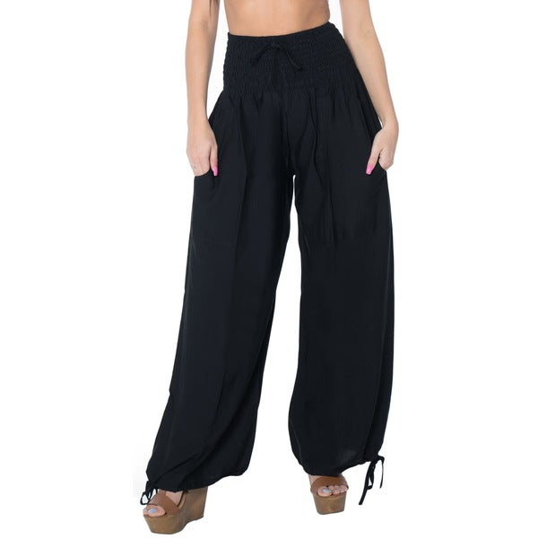 La Leela Rayon Plain Drawstring Tie Lounge Pajama Nightwear Women Pants Black