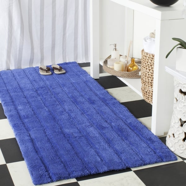 Safavieh Plush Master Spa Stripe Indigo Bath Rug