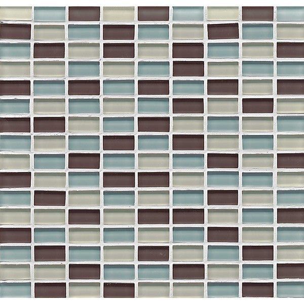 Bedrosians Mini Brick Blend Gloss Seaside Multicolored Glass Tiles (Pack of 10 Sheets)
