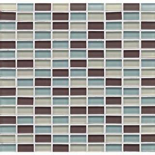 Bedrosians Mini Brick Blend Gloss Seaside Multicolored Glass Tiles (Pack of 10 Sheets)