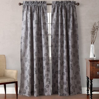 Heritage Landing Grey Folded Floral Curtain Panel Pair