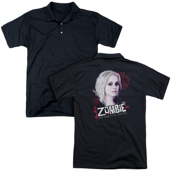 Izombie/Take A Bite (Back Print) Mens Regular Fit Polo in Black